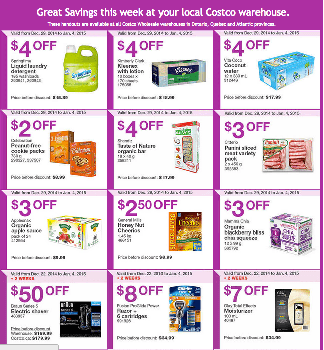 Costco East 1 Costco Canada Handouts Coupons Flyers Instant Savings For Ontario, Quebec & Atlantic Provinces, December 29, 2014 Until January 4, 2015