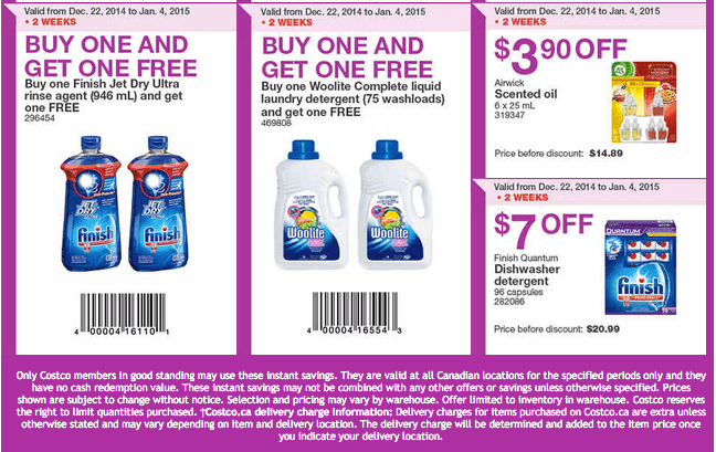 Costco East 3 Costco Canada Handouts Coupons Flyers Instant Savings For Ontario, Quebec & Atlantic Provinces, December 29, 2014 Until January 4, 2015