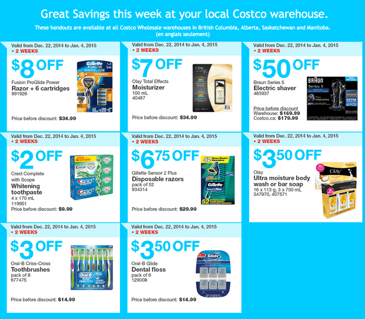 Costco Wholesale warehouses in British Columbia Alberta Saskatchewan and Manitoba. Costco Wholesale Canada Boxing Week 2014 Instant Handouts Coupons Savings Flyers For British Columbia, Alberta, Saskatchewan & Manitoba, December 22, 2014 Until January 4, 2015