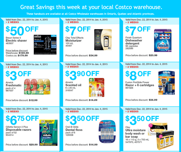 Costco Wholesale warehouses in Ontario Quebec and Atlantic provinces. Costco Canada Boxing Week 2014 Handouts Coupons Flyers Instant Savings For Ontario, Quebec & Atlantic Provinces, December 22, 2014 Until January 4, 2015