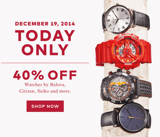 Hudson's Bay Canada Deals1 Hudson's Bay Canada Pre Boxing Day Deals: Save 40% off Watches by Citizen, Bulova, Seiko, Casio, Timex & More! Online Today
