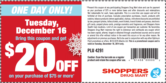 Saving coupon for Shoppers Drug Mart Shoppers Drug Mart Canada Printable Coupons: Save $20 When You Spend $75, Today, Tuesday, December 16