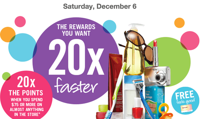 Shoppers Drug Mart Canada Deals Shoppers Drug Mart Canada Offers: Get 20X the Shoppers Optimum Points when You Spend $75 on Anything, Saturday, December 6