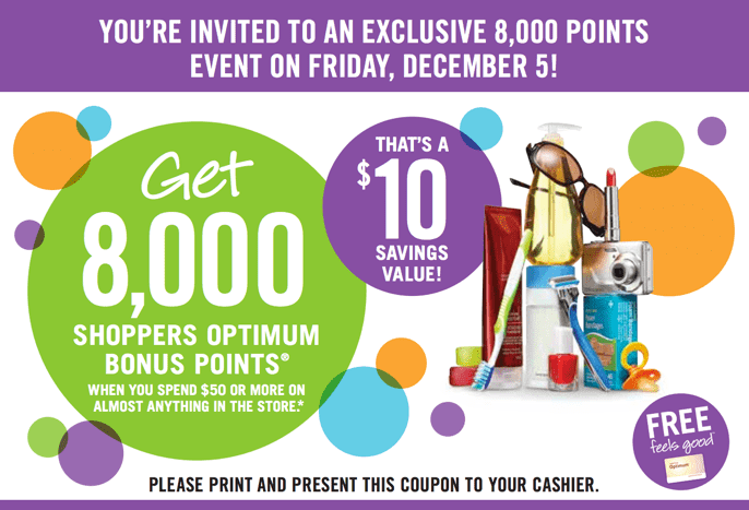 Shoppers Drug Mart Canada Printable Coupons Shoppers Drug Mart Canada Printable Coupons: Get 8,000 Optimum Bonus Points ($10 Savings Value) when You Spend $50 or More On Anything!
