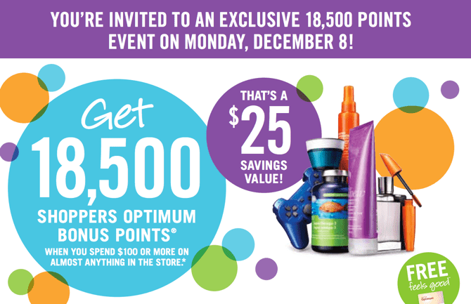 Shoppers Drug Mart Canada Printable Coupons1 Shoppers Drug Mart Canada Printable Coupons: Get 18,500 Bonus Points when You Spend $100 on Anything. That's $25 Savings Value