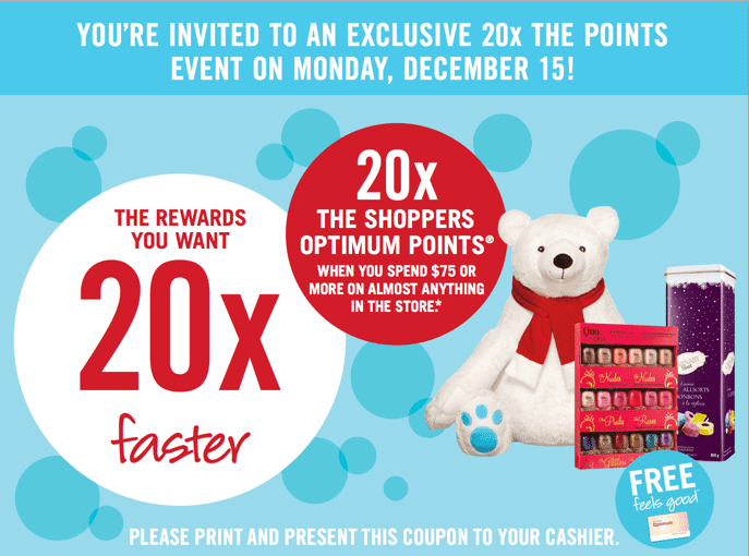 Shoppers Drug Mart Canada Printable Coupons2 Shoppers Drug Mart Canada Printable Coupons: Get 20x the Optimum Points when You Spend $75 on Anything, Monday, December 15