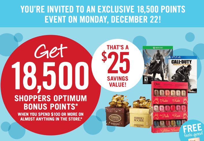 Shoppers Drug Mart Canada Printable Coupons4 Shoppers Drug Mart Canada Printable Coupons: Get 18,500 Optimum Bonus Points when You Spend $100 or More On Anything. Monday, Decem­ber 22