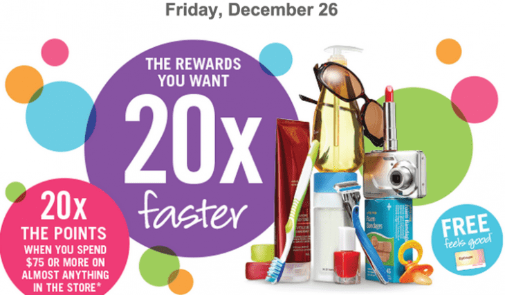 Shoppers Drug Mart Coupon1 730x426 Shoppers Drug Mart Canada Boxing Day 2014 Points Offer: 20x the Optimum Points with Your $75 Purchase on Anything, This Friday, December 26 with a Printable Coupon.