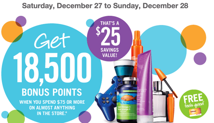 Shoppers Drug Mart Deals Shoppers Drug Mart Canada Boxing Week Optimum Points Bonus Event! Get 18,500 Bonus Points when You Spend $75 on Anything! That's  $25 worth of FREE Stuff!