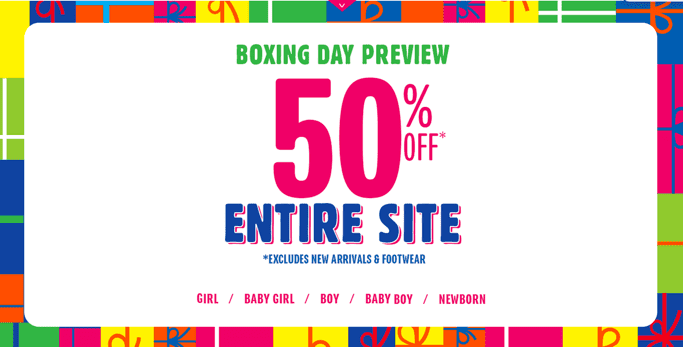 The children Place Sale The Childrens Place Boxing Day Preview: Entire Store 50% Off + FREE Shipping on All Orders + Limited Time $7.99 Denim & $4.99 Graphic Tees & More + Promo Code For An Extra 30% OFF!