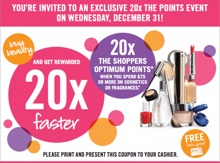 shoppers Drug Mart 730x541 Shoppers Drug Mart Canada Coupons: Get 20X The Shoppers Optimum Points When You Spend $75 Or More On Cosmetics Or Fragrances, Today