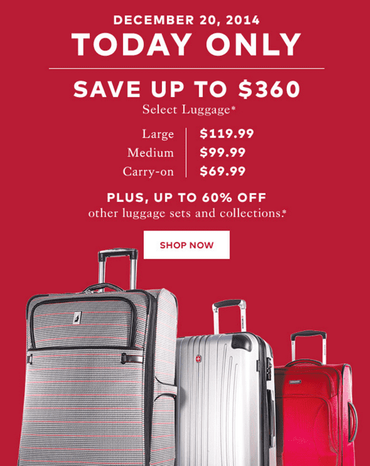z1419086233 small Hudson's Bay Canada Pre Boxing Day Deals: Luggage On Sale, Save up to $360 on Select Luggage + Up to 60% OFF Other Luggage! Online Today