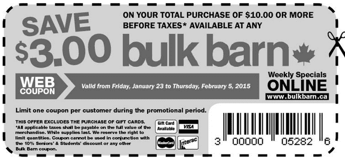 Bulk Barn Canada Coupons Bulk Barn Canada Coupons: Save $3 On Your Total Purchase Of $10 Or More!