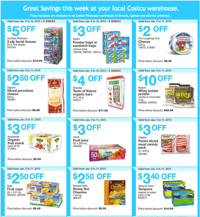 Costco East 1 Costco Canada Handouts Coupons Flyers Instant Savings For Ontario, Quebec & Atlantic Provinces, January 4 Until January 11, 2015