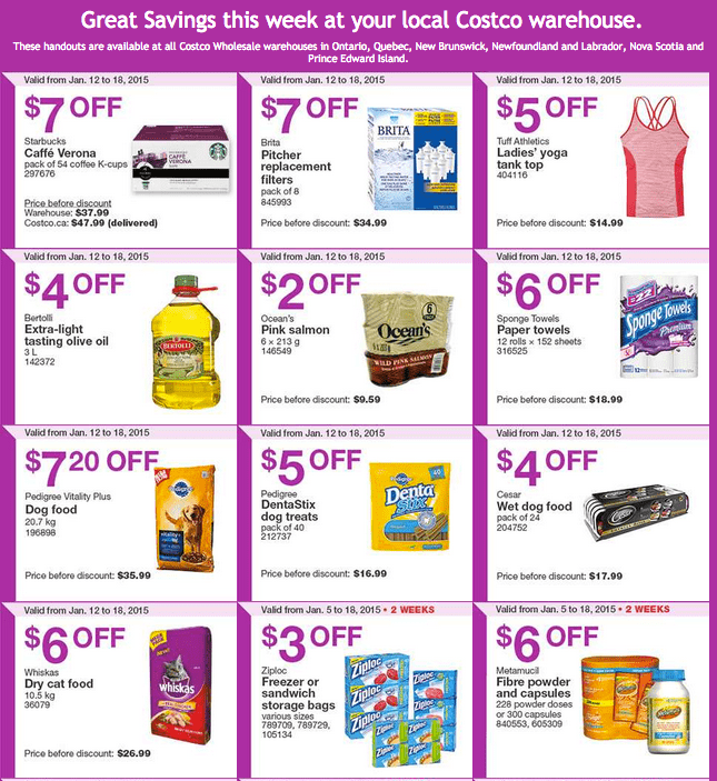 Costco East 11 Costco Canada Handouts Coupons Flyers Instant Savings For Ontario, Quebec & Atlantic Provinces, January 12 Until January 18, 2015