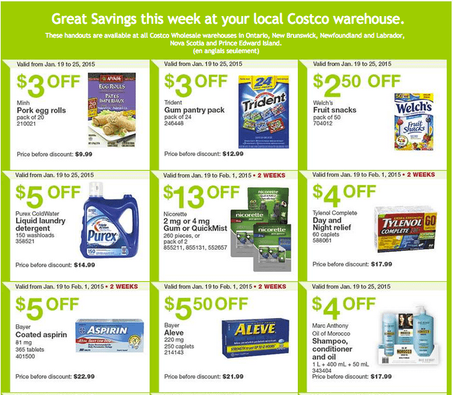 Costco East 12 Costco Canada Handouts Coupons Flyers Instant Savings For Ontario & Atlantic Provinces, January 19 Until January 25, 2015