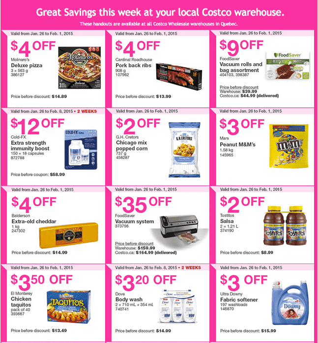 Costco Quebec 1 Costco Canada Handouts Coupons Flyers Instant Savings For Quebec Province, January 26 Until February 1, 2015