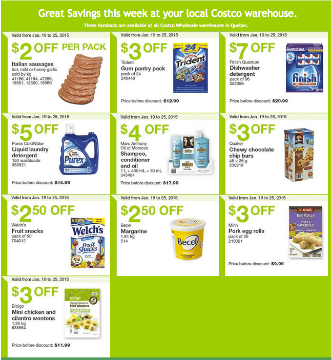 Costco Quebec Costco Canada Handouts Coupons Flyers Instant Savings For Quebec Province, January 19 Until January 25, 2015