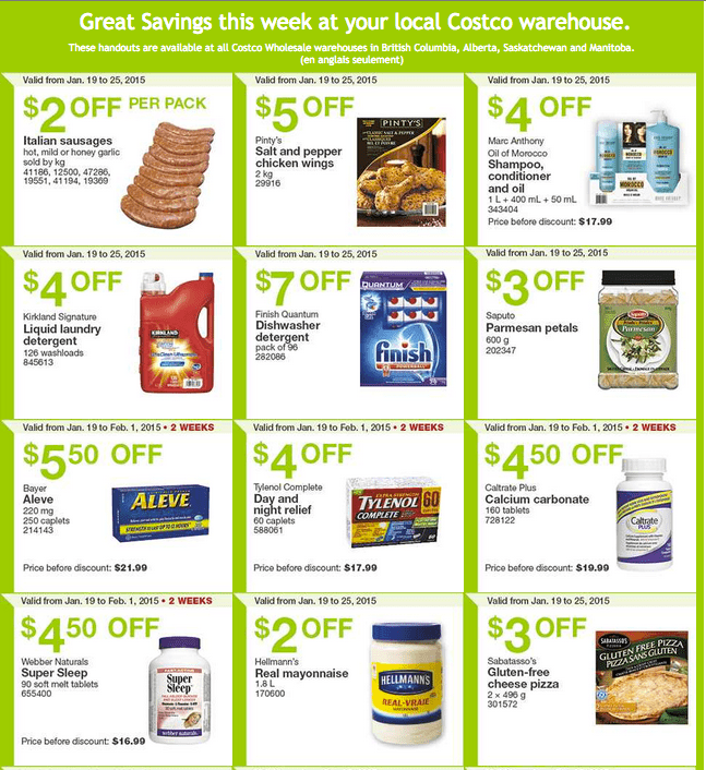 Costco West 11 Costco Canada Weekly Instant Savings Handouts Flyers For British Columbia, Alberta, Saskatchewan & Manitoba From Monday, January 19 Until Sunday, January 25, 2015