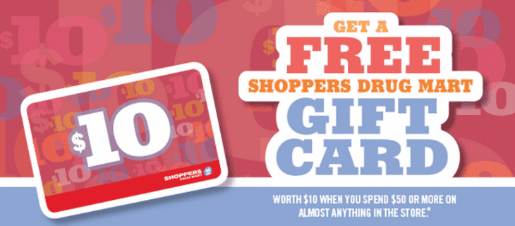 SDM free Shoppers Drug Mart Gift Card  730x320 Shoppers Drug Mart Canada Offers: Get a FREE Shoppers Drug Mart Gift Card Worth $10 when You Spend $50 on Almost Anything!