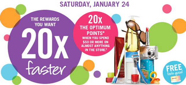 Shoppers Drug Mart Canada Deals Shoppers Drug Mart Canada Offers: 20x Optimum the Optimum Points When You Spend $50 On Anything this Saturday, January 24