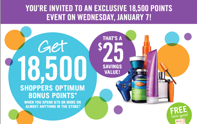 Shoppers Drug Mart Canada Printable Coupons Shoppers Drug Mart Canada Printable Coupons: Get 18,500 Optimum Bonus Points when You Spend $75 or More On Anything, Thats $25 Savings Value