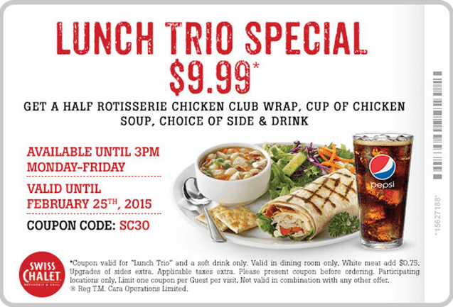 Swiss Chalet Coupon Swiss Chalet Canada Promotional Coupons: Just $9.99 For Lunch Trio Special