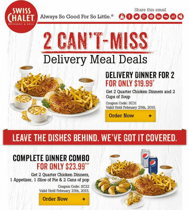 Swiss Chalet Swiss Chalet Canada 2 Cans Miss Deals: $19.99 Delivery Dinner For 2 & Complete Dinner Combo for $23.99