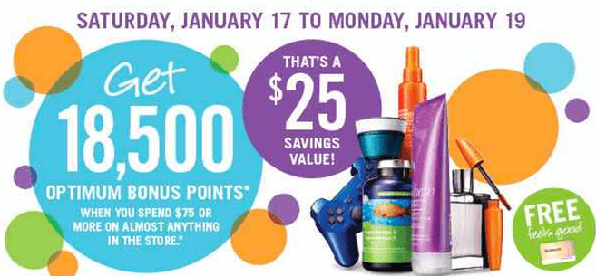 z1421332327 small Shoppers Drug Mart Canada Optimum Points Offers: Get 18,500 Bonus Points when You Spend $75 on Anything! That's $25 Savings Value!