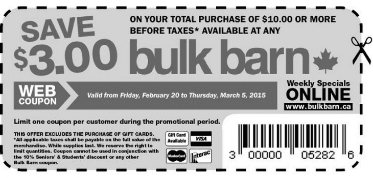 Bulk Barn1 730x350 Bulk Barn Canada Coupons: Save $3 On Your Total Purchase Of $10 Or More!