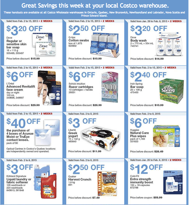 Costco East 1 Costco Canada Handouts Coupons Flyers Instant Savings For Ontario, Quebec & Atlantic Provinces, From Monday, February 2 To Sunday, February 8, 2015