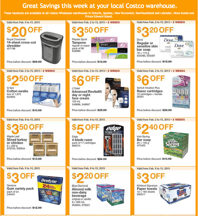 Costco East 11 Costco Canada Handouts Coupons Flyers Instant Savings For Ontario, Quebec & Atlantic Provinces, From Monday, February 9 To Sunday, February 15, 2015