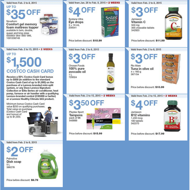 Costco East 2 Costco Canada Handouts Coupons Flyers Instant Savings For Ontario, Quebec & Atlantic Provinces, From Monday, February 2 To Sunday, February 8, 2015