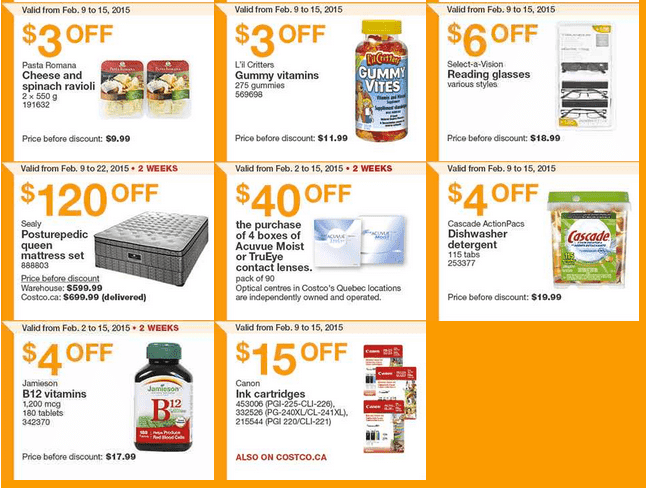 Costco East 21 Costco Canada Handouts Coupons Flyers Instant Savings For Ontario, Quebec & Atlantic Provinces, From Monday, February 9 To Sunday, February 15, 2015