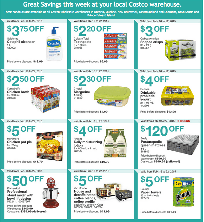 Costco East Costco Canada Handouts Coupons Flyers Instant Savings For Ontario, Quebec & Atlantic Provinces, From Monday, February 16 To Sunday, February 22, 2015