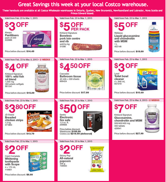 Costco East1 Costco Canada Handouts Coupons Flyers Instant Savings For Ontario, Quebec & Atlantic Provinces, From Monday, February 23 To Sunday, March 1, 2015
