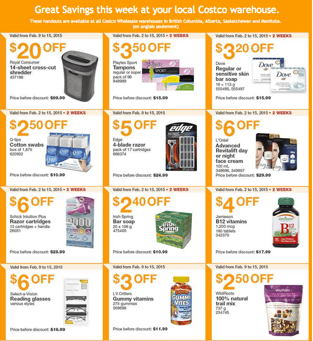 Costco West 11 Costco Canada Weekly Instant Savings Handouts Flyers For British Columbia, Alberta, Saskatchewan & Manitoba From Monday, February 9 Until Sunday, February 15, 2015