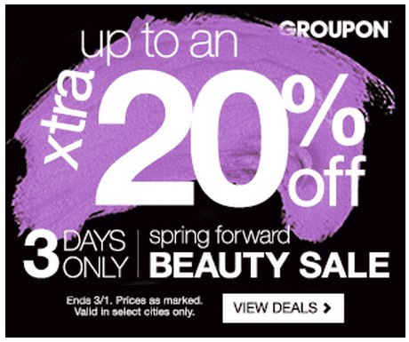 Groupon1 Groupon Canada Beauty Coupon: Save Up To An Extra 20% Off Beauty Sale