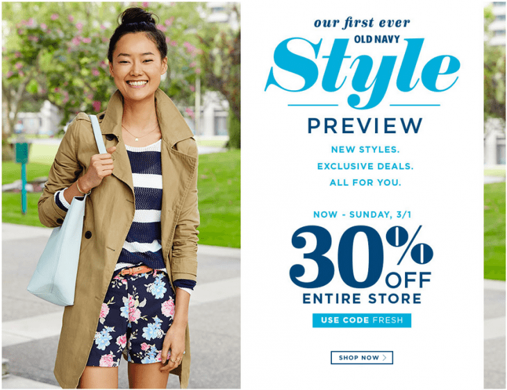 Old Navy 730x562 Old Navy Canada Style Preview Offers: Save 30% Off Your Entire Purchase