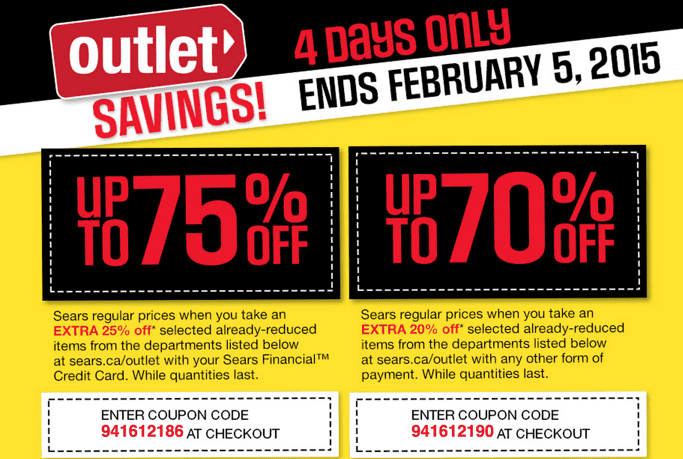 Sears outlet coupon code 2019