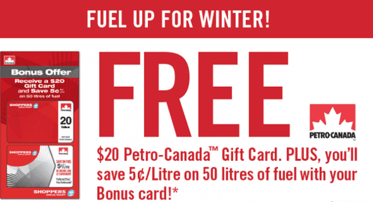 hoppers Drug Mart Canada Promo 730x396 Shoppers Drug Mart Canada Offers: Spend $75 & Get a FREE $20 Petro Canada Gift Card + Save 5¢/Litre on 50 Litres of Fuel with Your Bonus Card!
