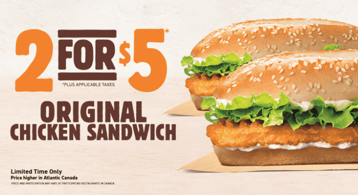 Burger King Canada Deals 730x399 Burger King Canada Promos: Two Original Chicken Sandwiches For Just $5.00!