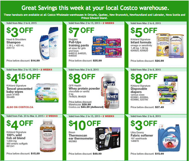 Costco East 1 Costco Canada Handouts Coupons Flyers Instant Savings For Ontario, Quebec & Atlantic Provinces, From Monday, March 2 To Sunday, March 8, 2015