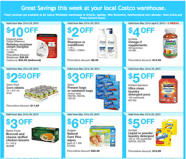 Costco East 12 Costco Canada Handouts Coupons Flyers Instant Savings For Ontario, Quebec & Atlantic Provinces, From Monday, March 23 To Sunday, March 29, 2015