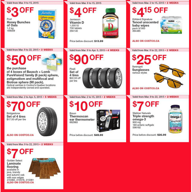 Costco East 21 Costco Canada Handouts Coupons Flyers Instant Savings For Ontario, Quebec & Atlantic Provinces, From Monday, March 9 To Sunday, March 15, 2015