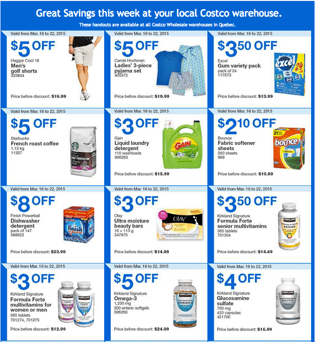 Costco Q1 Costco Canada Handouts Coupons Flyers Instant Savings For Quebec Province, From Monday, March 16 To Sunday, March 22, 2015