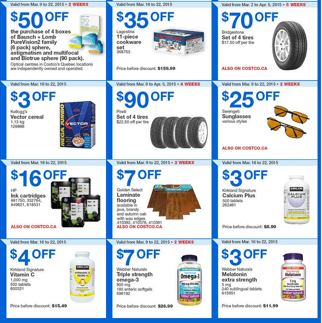 Costco Q2 Costco Canada Handouts Coupons Flyers Instant Savings For Quebec Province, From Monday, March 16 To Sunday, March 22, 2015