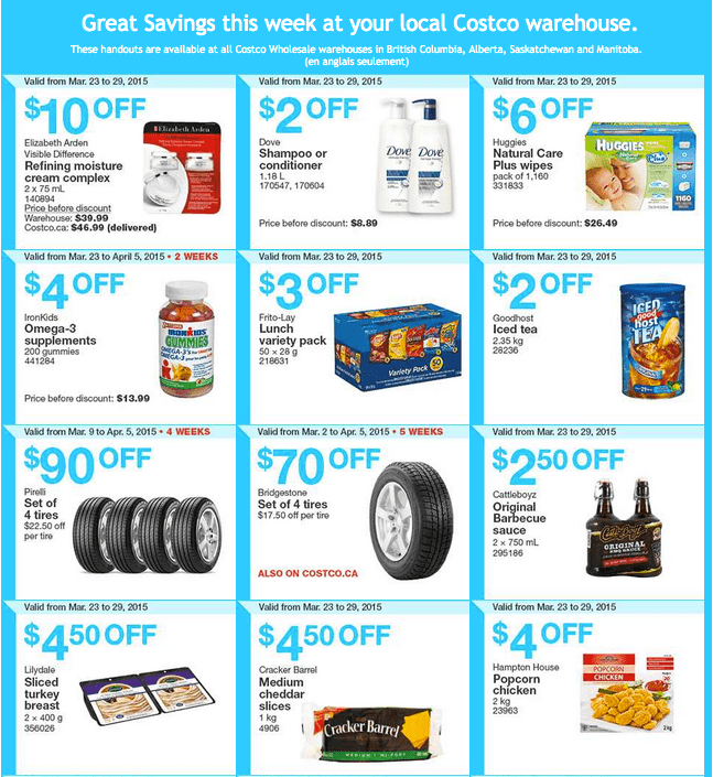Costco West 13 Costco Canada Weekly Instant Savings Handouts Flyers For British Columbia, Alberta, Saskatchewan & Manitoba From Monday, March 23 Until Sunday, March 29, 2015
