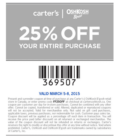 GRAB A CARTER'S OSHKOSH COUPON. Here are the types of deals you can expect from Carters Canada: Carters free shipping codes. Site-wide discounts with a Carters promo code. Additional discounts on clearance merchandise when you use a Carters coupon. Carters printable coupons redeemable at a Carters location near you.