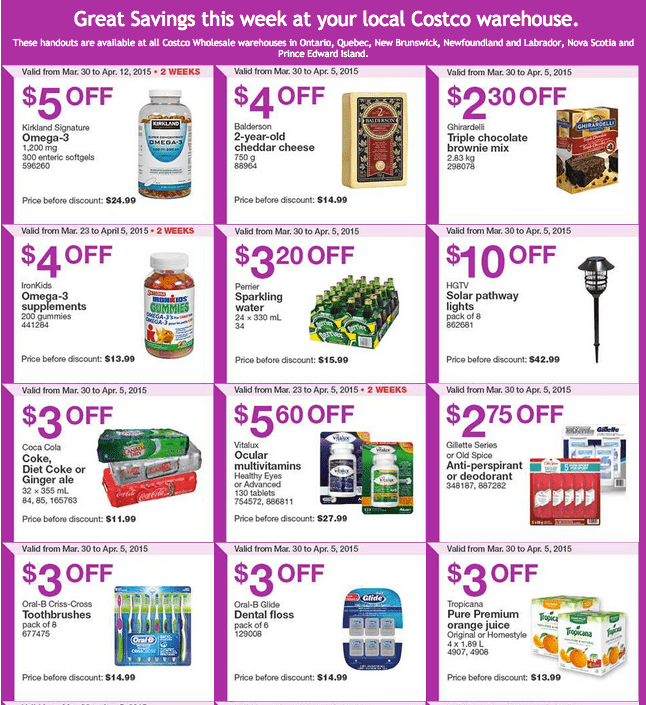 Screen Shot 2015 03 30 at 10.21.26 AM Costco Canada Handouts Coupons Flyers Instant Savings For Ontario, Quebec & Atlantic Provinces, From Monday, March 30 To Sunday, April 5, 2015